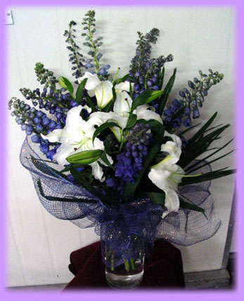 Blue and White Lily Bouquet