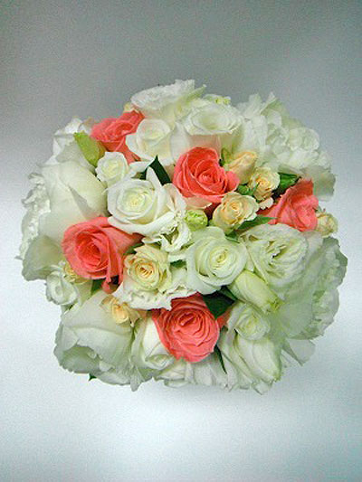 Wedding cream and coral bouquet flower wholesalers takapuna wedding cream and coral bouquet mightylinksfo
