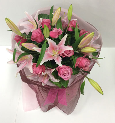 Pink Roses and Lillies