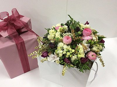 flower posy in gift box