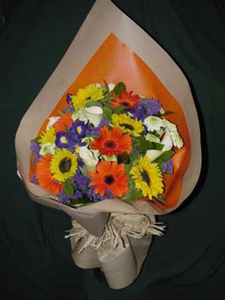 Yellow, Orange, Purple and White Flower Bouquet
