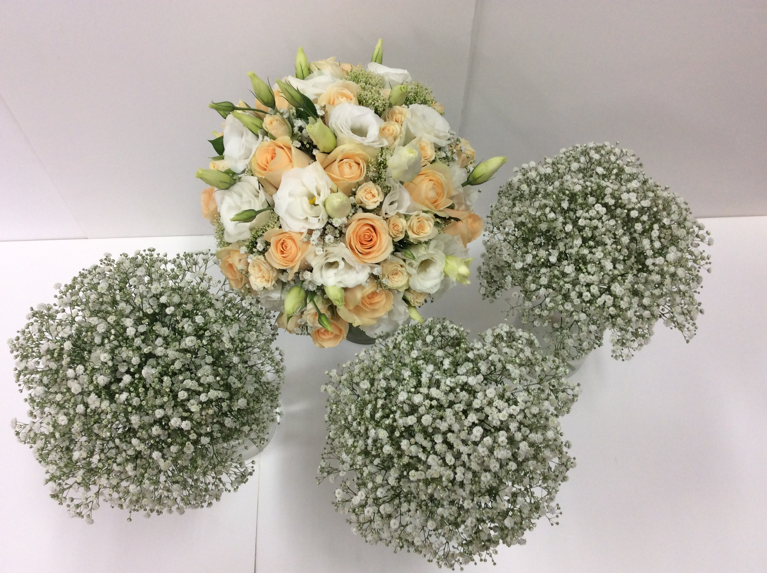 Wedding Cream and apricot bridal bouquet and Gyp posies