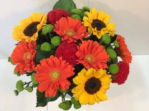 bright sunflower and gerbera bouquet