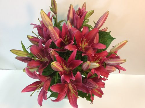 gorgeous pink lily bouquet