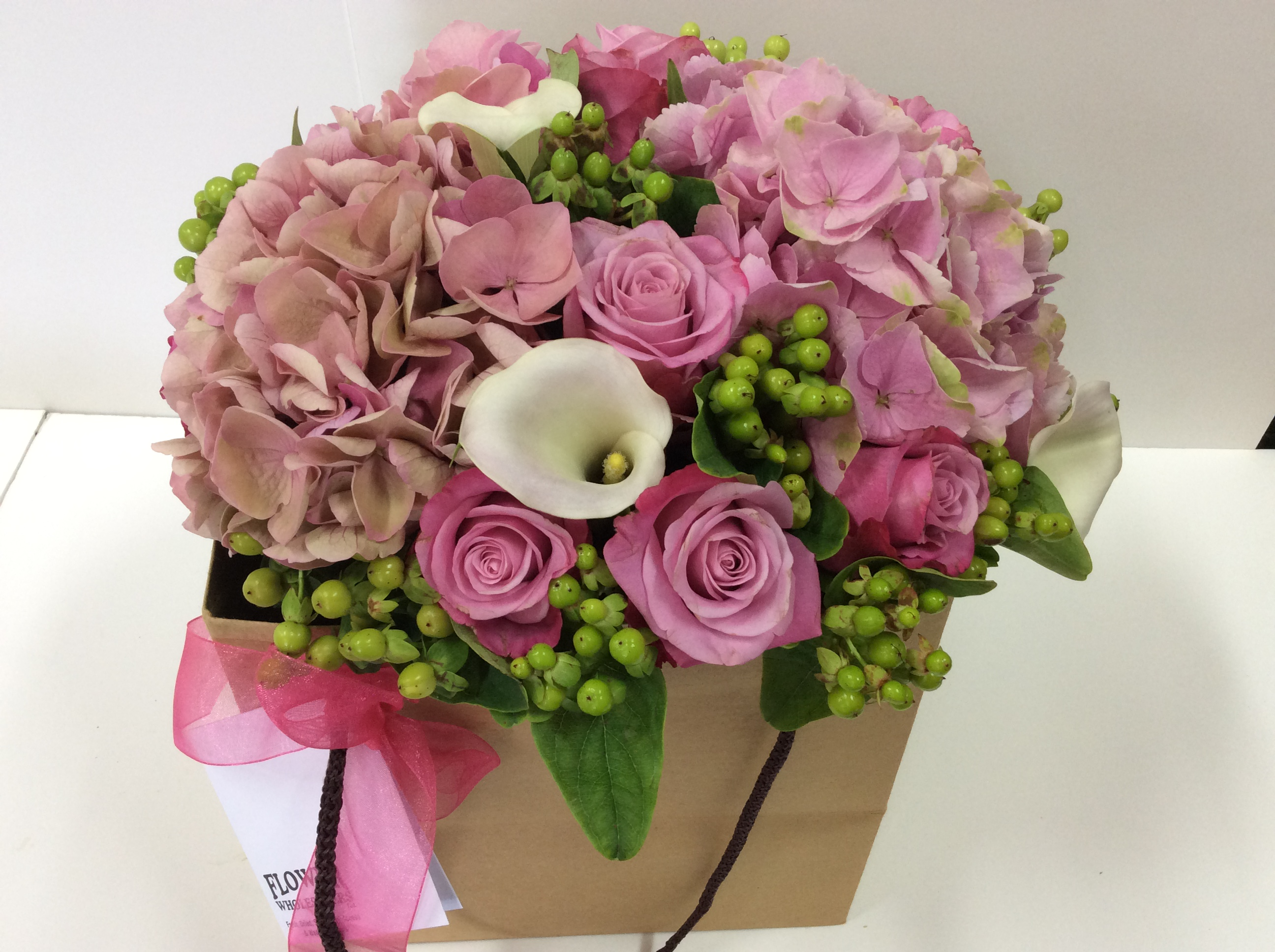 Posie Bag In Pinks Flower Wholesalers Takapuna